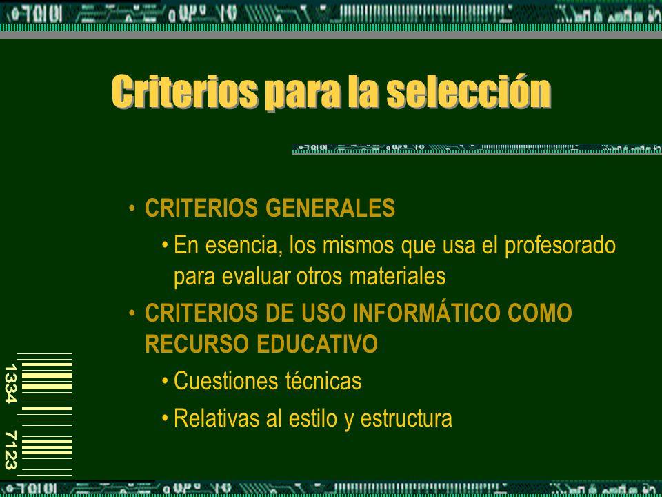Criterios para la selección CRITERIOS GENERALES En esencia, los mismos que usa el profesorado para evaluar otros materiales CRITERIOS DE USO INFORMÁTICO COMO RECURSO EDUCATIVO Cuestiones técnicas Relativas al estilo y estructura
