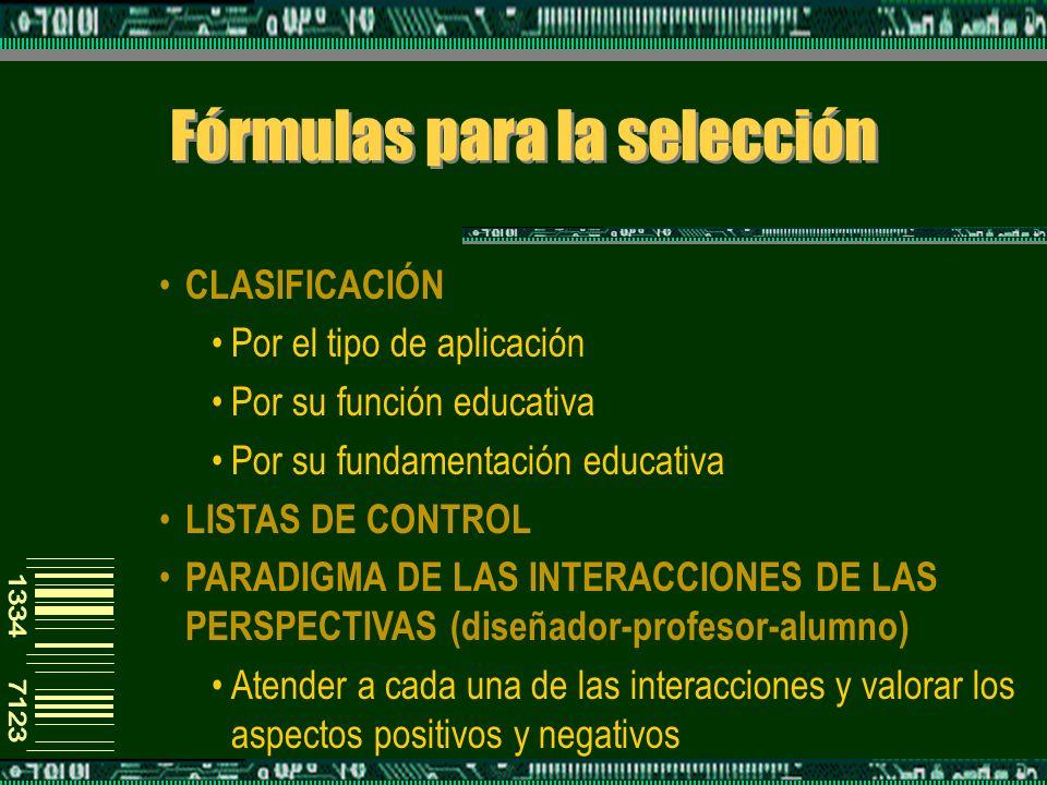 Fórmulas para la selección CLASIFICACIÓN Por el tipo de aplicación Por su función educativa Por su fundamentación educativa LISTAS DE CONTROL PARADIGMA DE LAS INTERACCIONES DE LAS PERSPECTIVAS (diseñador-profesor-alumno) Atender a cada una de las interacciones y valorar los aspectos positivos y negativos