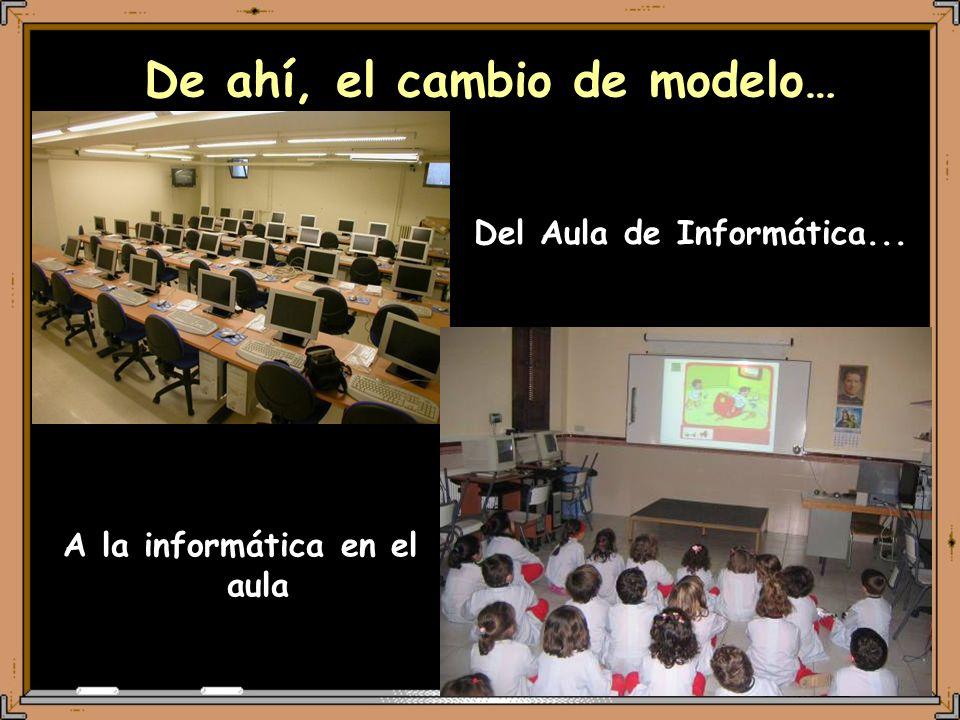 De ahí, el cambio de modelo… Del Aula de Informática... A la informática en el aula