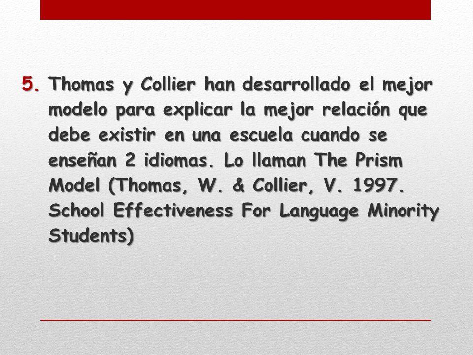 5.Thomas y Collier han desarrollado el mejor modelo para explicar la mejor relación que debe existir en una escuela cuando se enseñan 2 idiomas.