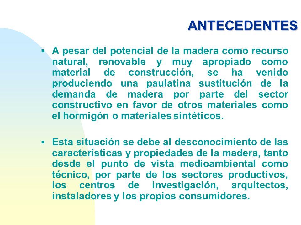 ANTECEDENTES A pesar del potencial de la madera como recurso natural, renovable y muy apropiado como material de construcción, se ha venido produciend