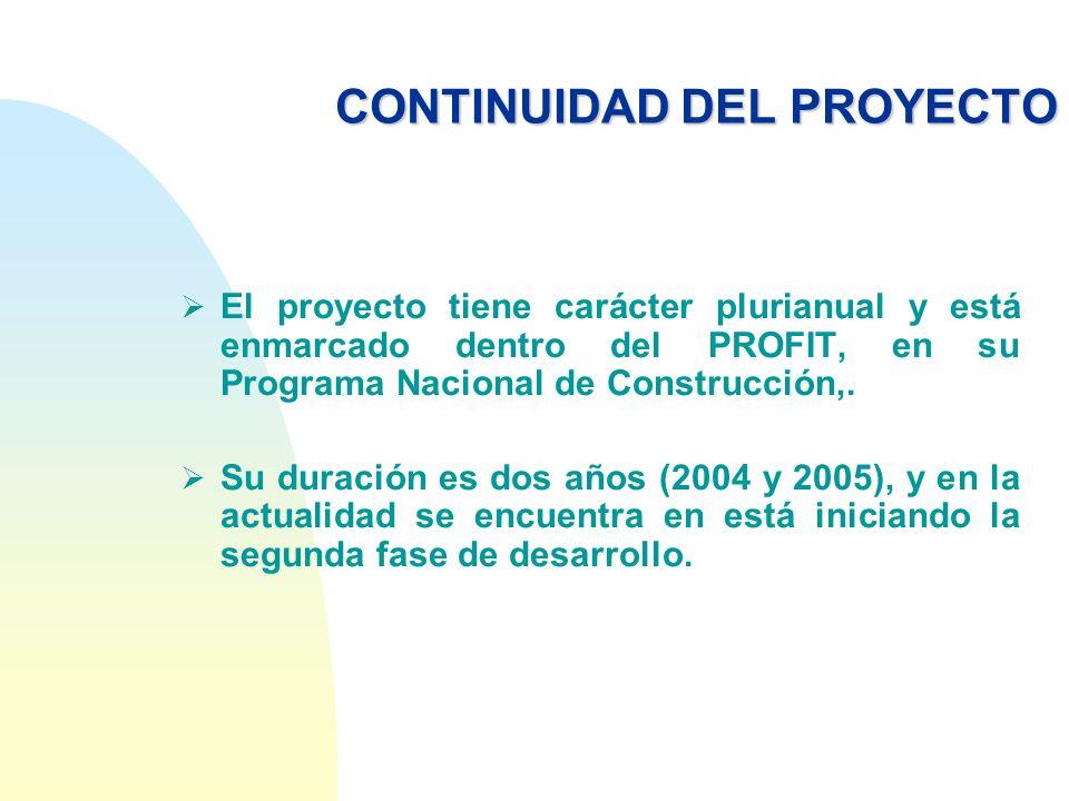 CONTINUIDAD DEL PROYECTO El proyecto tiene carácter plurianual y está enmarcado dentro del PROFIT, en su Programa Nacional de Construcción,. Su duraci