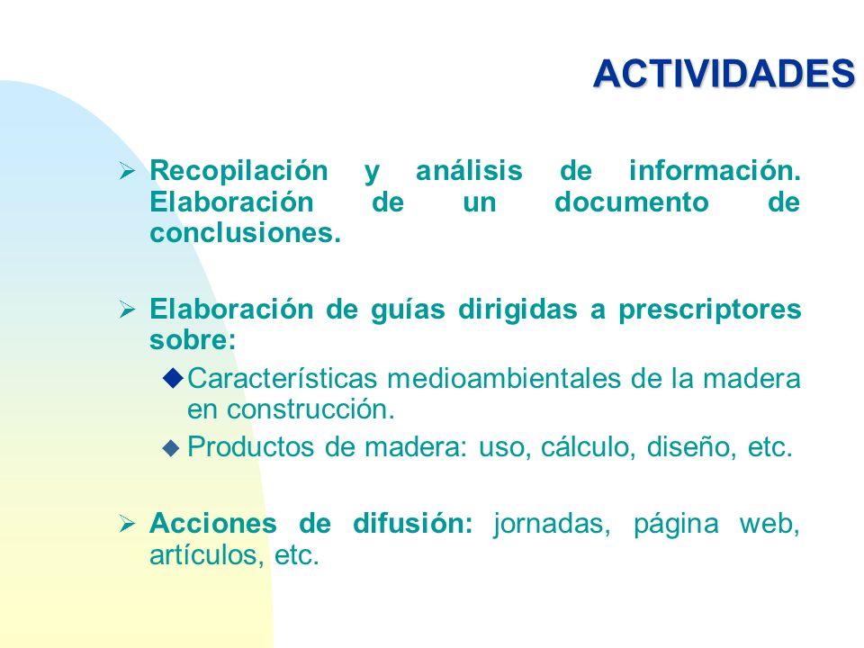 ACTIVIDADES Recopilación y análisis de información. Elaboración de un documento de conclusiones. Elaboración de guías dirigidas a prescriptores sobre: