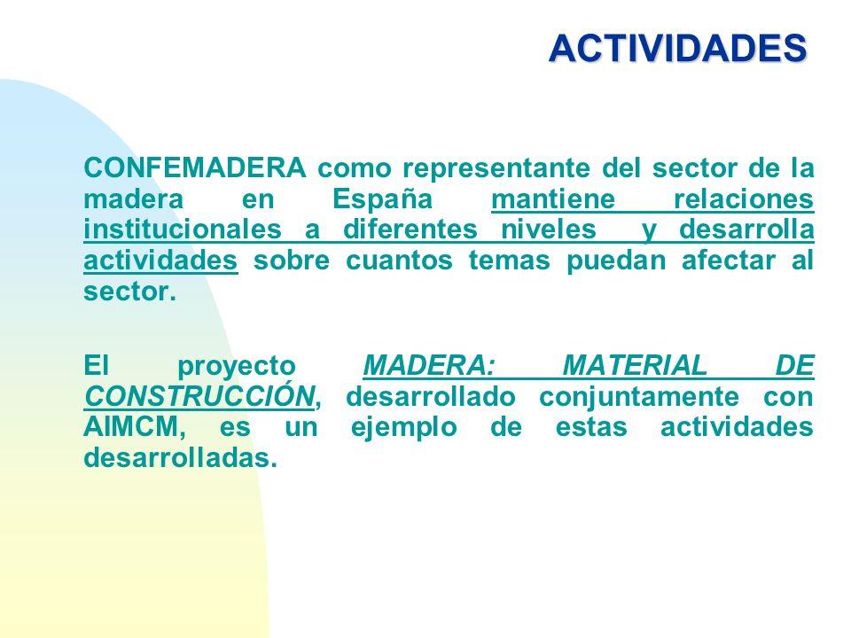ACTIVIDADES CONFEMADERA como representante del sector de la madera en España mantiene relaciones institucionales a diferentes niveles y desarrolla act