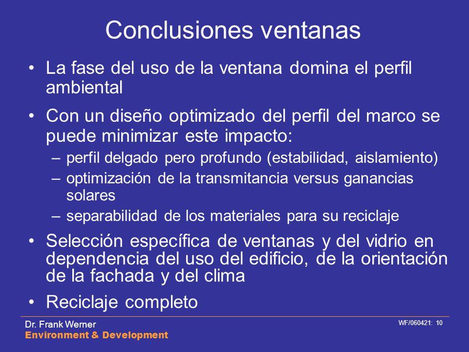 Dr. Frank Werner Environment & Development WF/060421: 10 Conclusiones ventanas La fase del uso de la ventana domina el perfil ambiental Con un diseño
