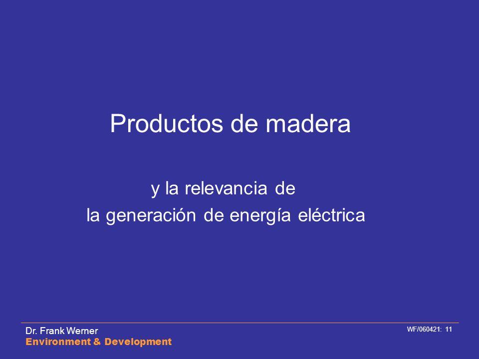 Dr. Frank Werner Environment & Development WF/060421: 11 Productos de madera y la relevancia de la generación de energía eléctrica