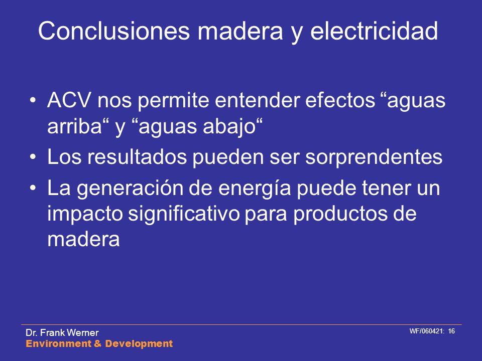 Dr. Frank Werner Environment & Development WF/060421: 16 Conclusiones madera y electricidad ACV nos permite entender efectos aguas arriba y aguas abaj