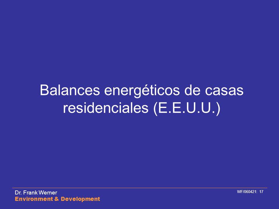 Dr. Frank Werner Environment & Development WF/060421: 17 Balances energéticos de casas residenciales (E.E.U.U.)