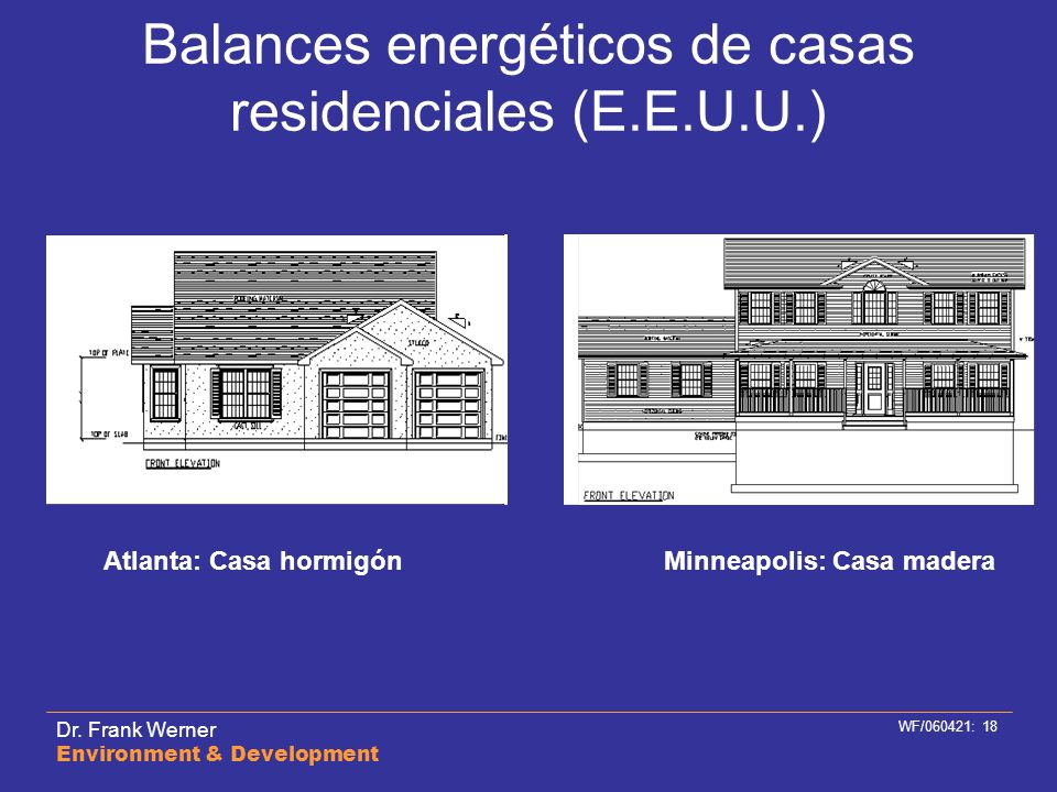 Dr. Frank Werner Environment & Development WF/060421: 18 Balances energéticos de casas residenciales (E.E.U.U.) Atlanta: Casa hormigónMinneapolis: Cas