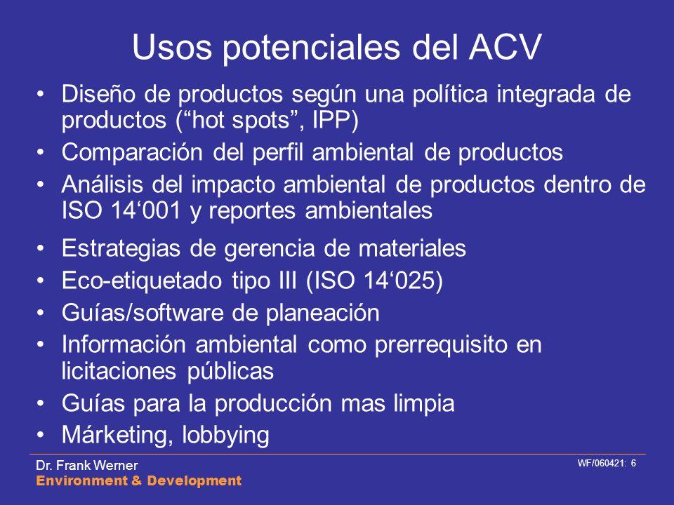 Dr. Frank Werner Environment & Development WF/060421: 6 Usos potenciales del ACV Diseño de productos según una política integrada de productos (hot sp