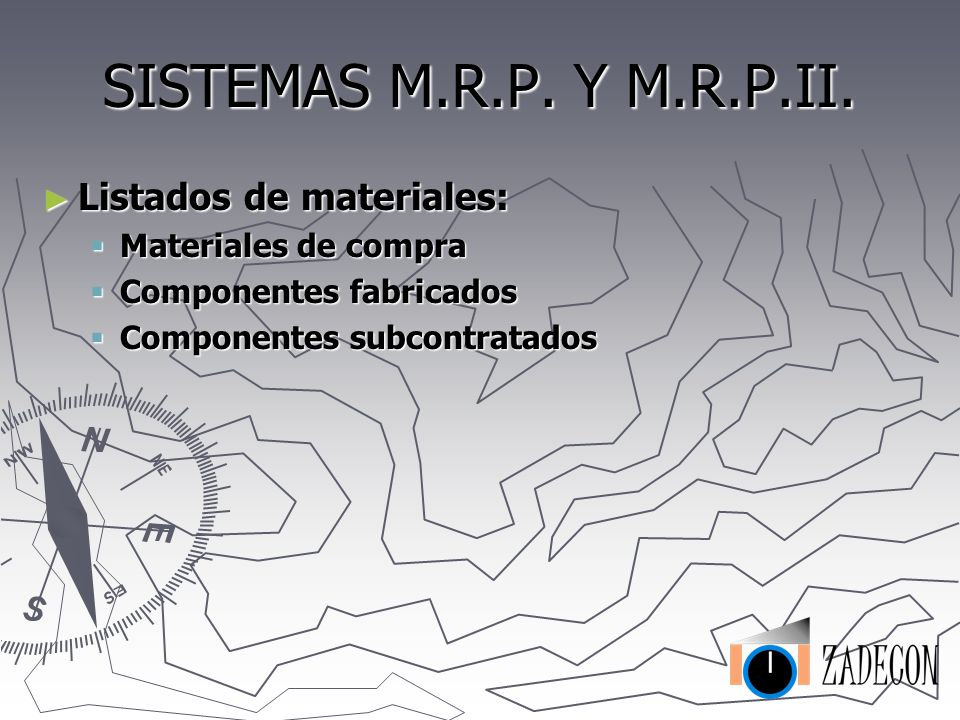 SISTEMAS M.R.P. Y M.R.P.II. Sistema M.R.P. (Material Requirement Planning): Sistema M.R.P. (Material Requirement Planning): Calcula la cantidad a prod