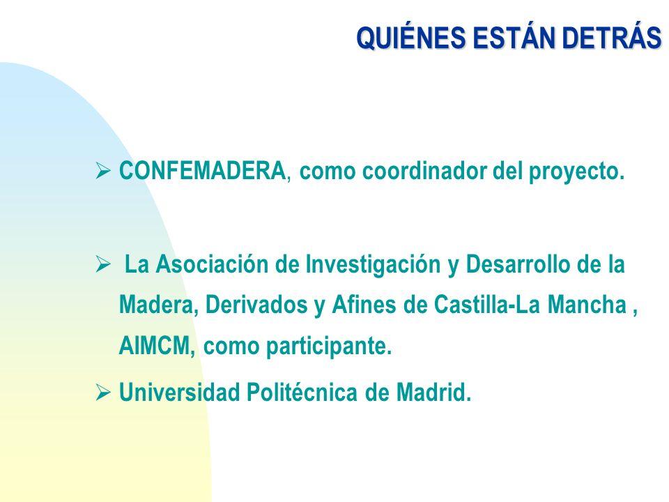 QUIÉNES ESTÁN DETRÁS CONFEMADERA, como coordinador del proyecto. La Asociación de Investigación y Desarrollo de la Madera, Derivados y Afines de Casti