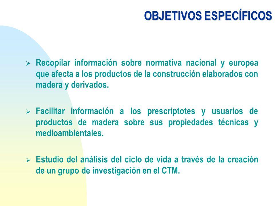 OBJETIVOS ESPECÍFICOS Recopilar información sobre normativa nacional y europea que afecta a los productos de la construcción elaborados con madera y d