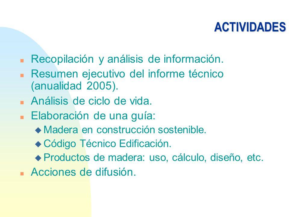 ACTIVIDADES n Recopilación y análisis de información. n Resumen ejecutivo del informe técnico (anualidad 2005). n Análisis de ciclo de vida. n Elabora