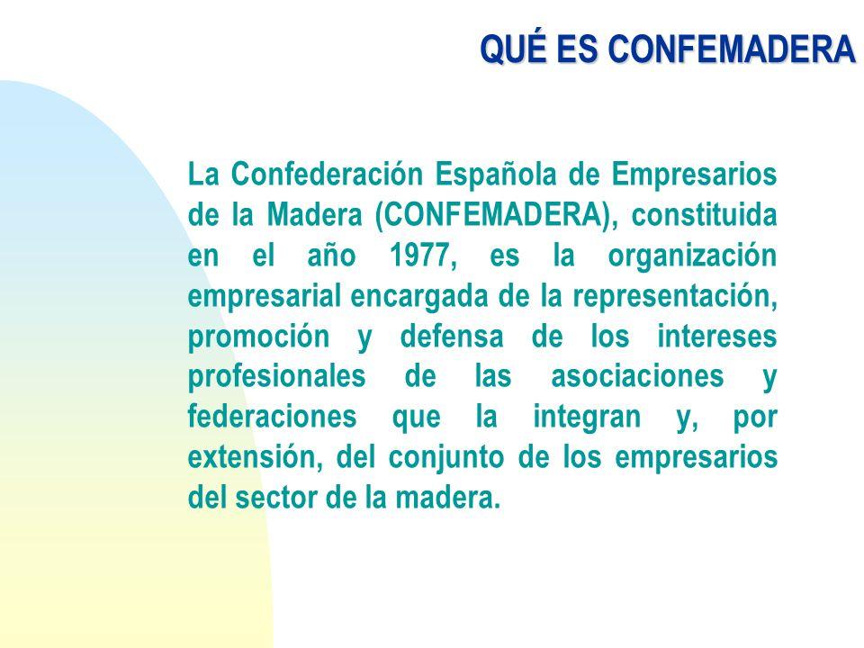ASOCIADOS CONFEMADERA representa la cúpula del asociacionismo en el sector y está formada por una red de organizaciones asociadas de dos tipos: F territoriales F subsectoriales