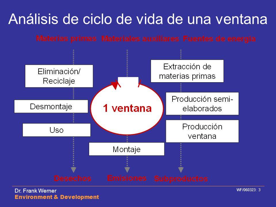 Dr. Frank Werner Environment & Development WF/060323: 3 Análisis de ciclo de vida de una ventana