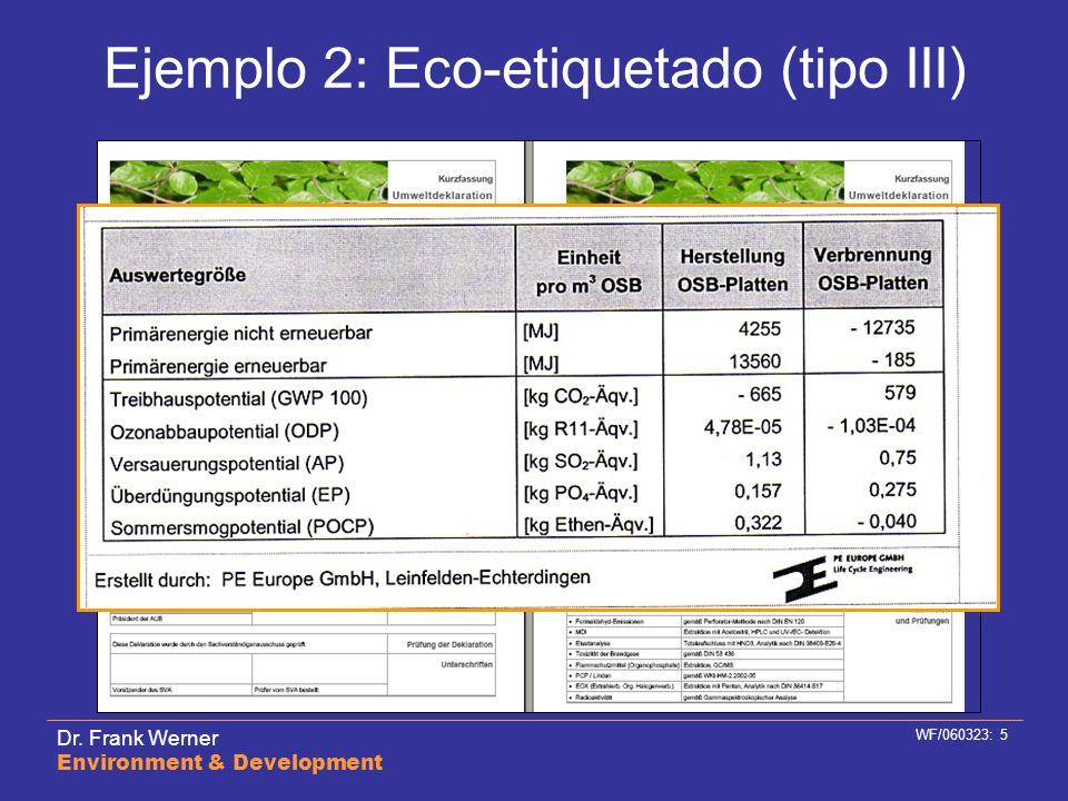 Dr. Frank Werner Environment & Development WF/060323: 5 Ejemplo 2: Eco-etiquetado (tipo III)