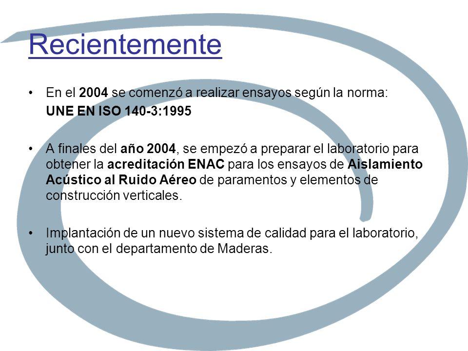Recientemente En el 2004 se comenzó a realizar ensayos según la norma: UNE EN ISO 140-3:1995 A finales del año 2004, se empezó a preparar el laborator