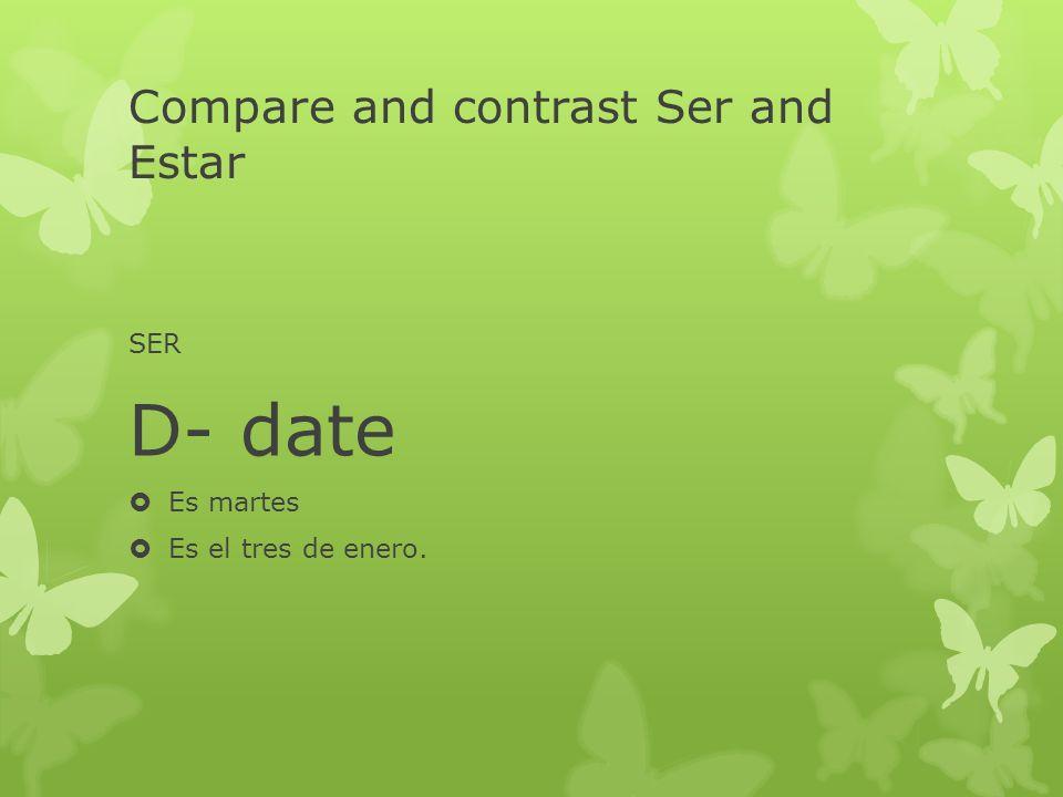 Compare and contrast Ser and Estar SER D- date Es martes Es el tres de enero.