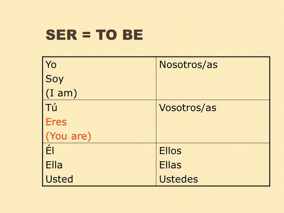 SER = TO BE Yo Soy (I am) Nosotros/as Tú Eres (You are) Vosotros/as Él Ella Usted Ellos Ellas Ustedes