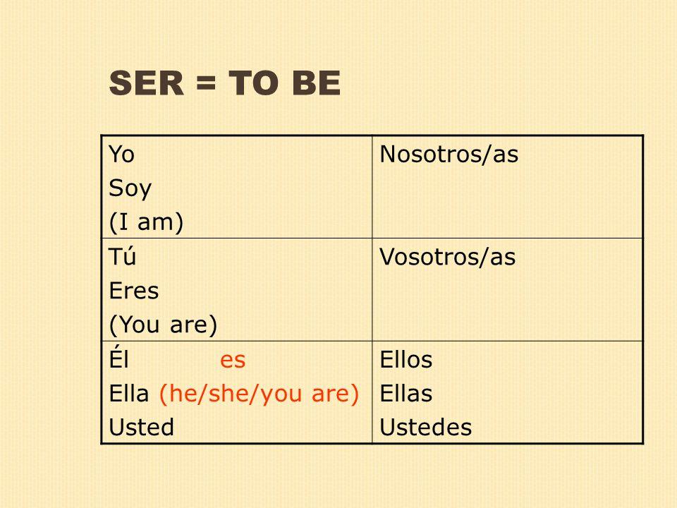 SER = TO BE Yo Soy (I am) Nosotros/as Tú Eres (You are) Vosotros/as Él es Ella (he/she/you are) Usted Ellos Ellas Ustedes