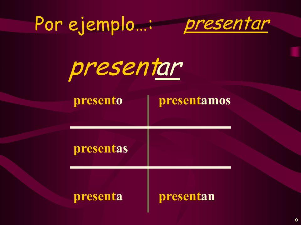 9 Por ejemplo…: presentar presentar present o as a amos an