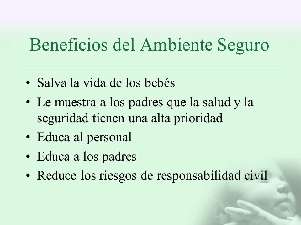 Beneficios del Ambiente Seguro Salva la vida de los bebés Le muestra a los padres que la salud y la seguridad tienen una alta prioridad Educa al perso