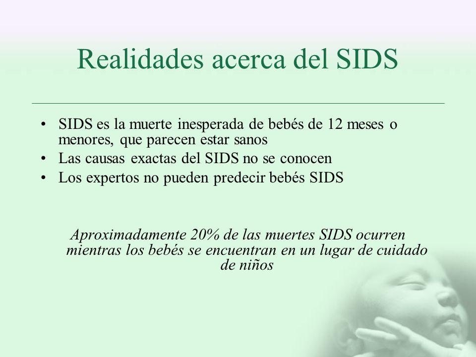 Realidades acerca del SIDS SIDS es la muerte inesperada de bebés de 12 meses o menores, que parecen estar sanos Las causas exactas del SIDS no se cono