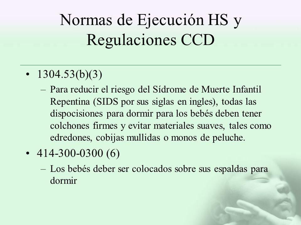 Normas de Ejecución HS y Regulaciones CCD 1304.53(b)(3) –Para reducir el riesgo del Sídrome de Muerte Infantil Repentina (SIDS por sus siglas en ingle