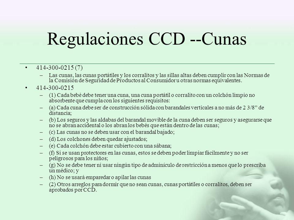 Regulaciones CCD --Cunas 414-300-0215 (7) –Las cunas, las cunas portátiles y los corralitos y las sillas altas deben cumplir con las Normas de la Comi
