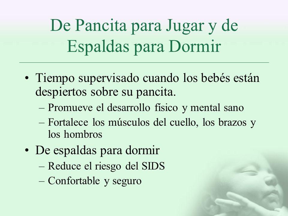 De Pancita para Jugar y de Espaldas para Dormir Tiempo supervisado cuando los bebés están despiertos sobre su pancita. –Promueve el desarrollo físico