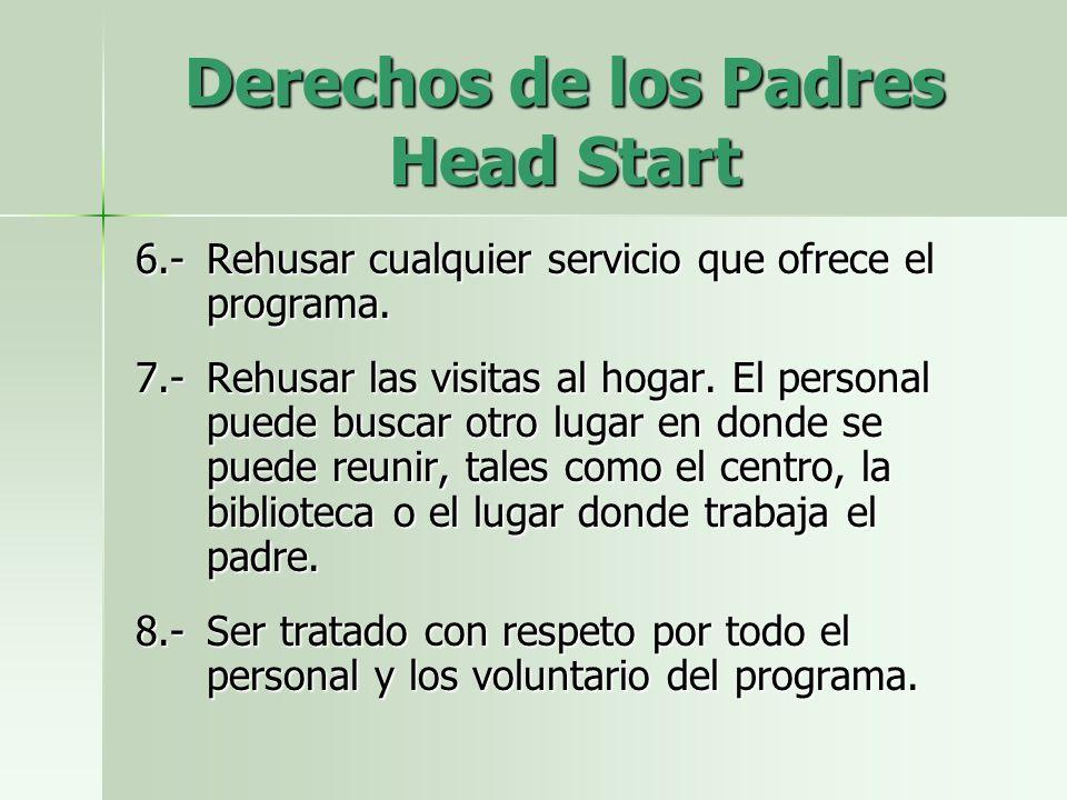 Derechos de los Padres Head Start 6.-Rehusar cualquier servicio que ofrece el programa.