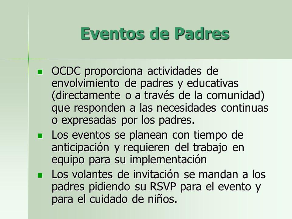 Eventos de Padres OCDC proporciona actividades de envolvimiento de padres y educativas (directamente o a través de la comunidad) que responden a las necesidades continuas o expresadas por los padres.