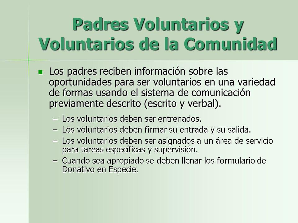 Padres Voluntarios y Voluntarios de la Comunidad Los padres reciben información sobre las oportunidades para ser voluntarios en una variedad de formas usando el sistema de comunicación previamente descrito (escrito y verbal).