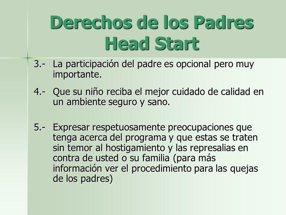 Derechos de los Padres Head Start 3.-La participación del padre es opcional pero muy importante.