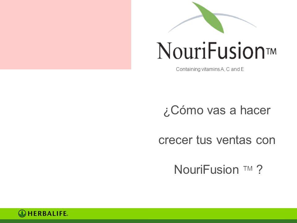 Containing vitamins A, C and E ¿Cómo vas a hacer crecer tus ventas con NouriFusion TM ?