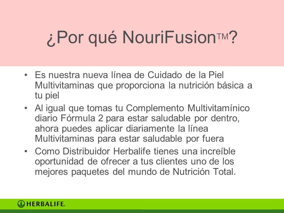 ¿Por qué NouriFusion TM ? Es nuestra nueva línea de Cuidado de la Piel Multivitaminas que proporciona la nutrición básica a tu piel Al igual que tomas