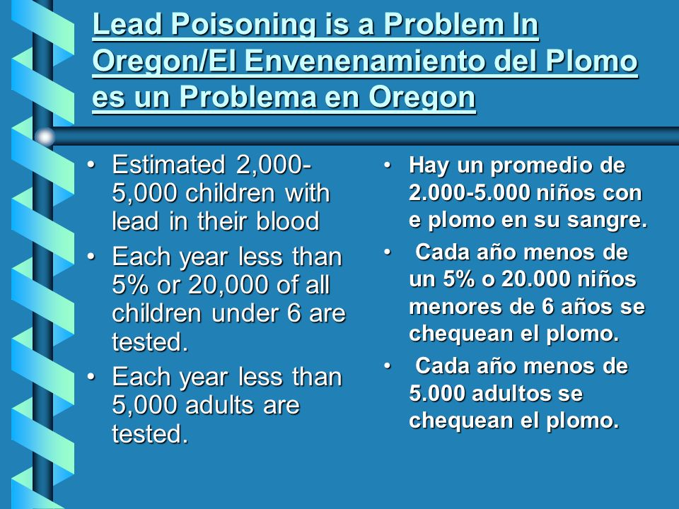 Lead Poisoning is a Problem In Oregon/El Envenenamiento del Plomo es un Problema en Oregon Estimated 2,000- 5,000 children with lead in their bloodEstimated 2,000- 5,000 children with lead in their blood Each year less than 5% or 20,000 of all children under 6 are tested.Each year less than 5% or 20,000 of all children under 6 are tested.