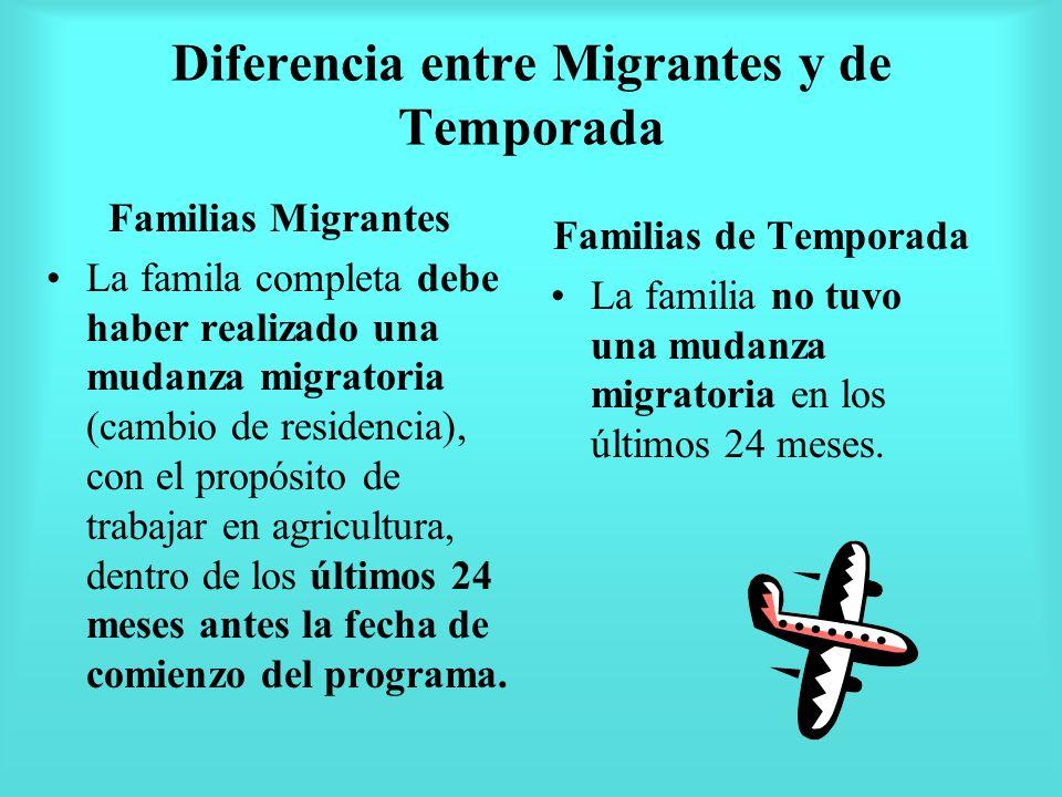 Diferencia entre Migrantes y de Temporada Familias Migrantes La famila completa debe haber realizado una mudanza migratoria (cambio de residencia), co