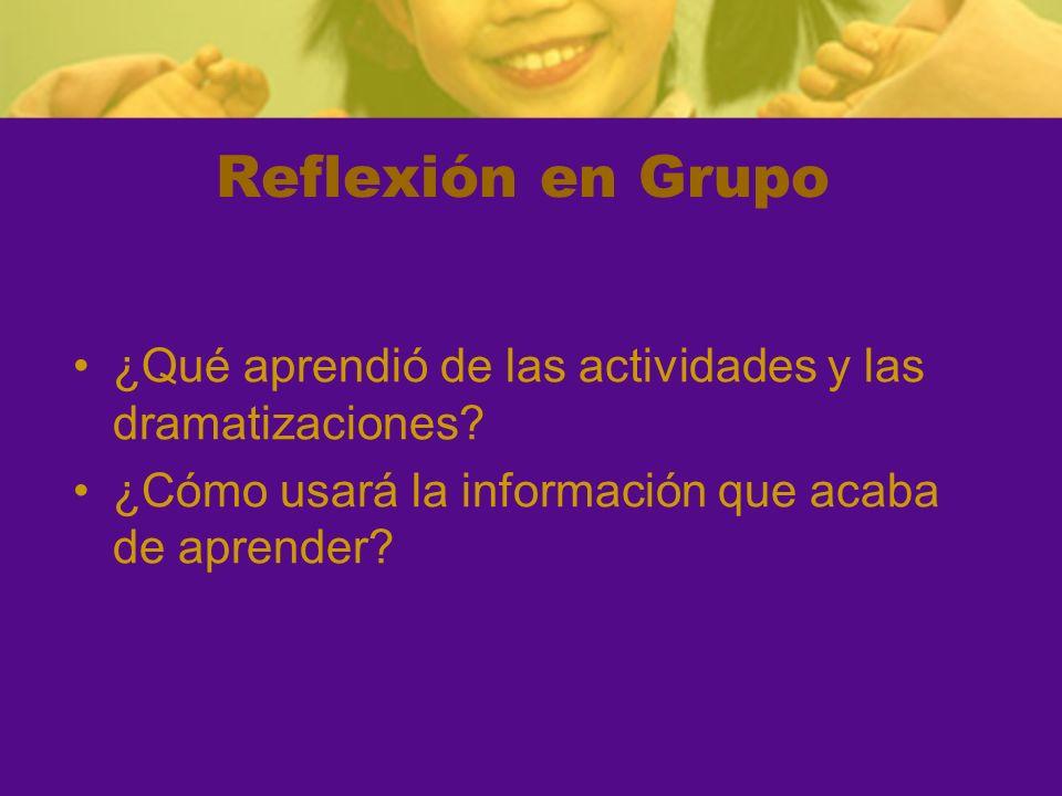 Reflexión en Grupo ¿Qué aprendió de las actividades y las dramatizaciones.