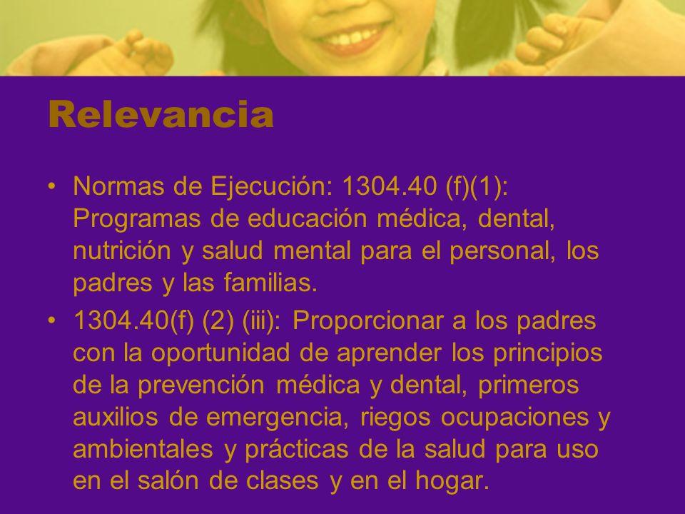 Relevancia Normas de Ejecución: 1304.40 (f)(1): Programas de educación médica, dental, nutrición y salud mental para el personal, los padres y las familias.