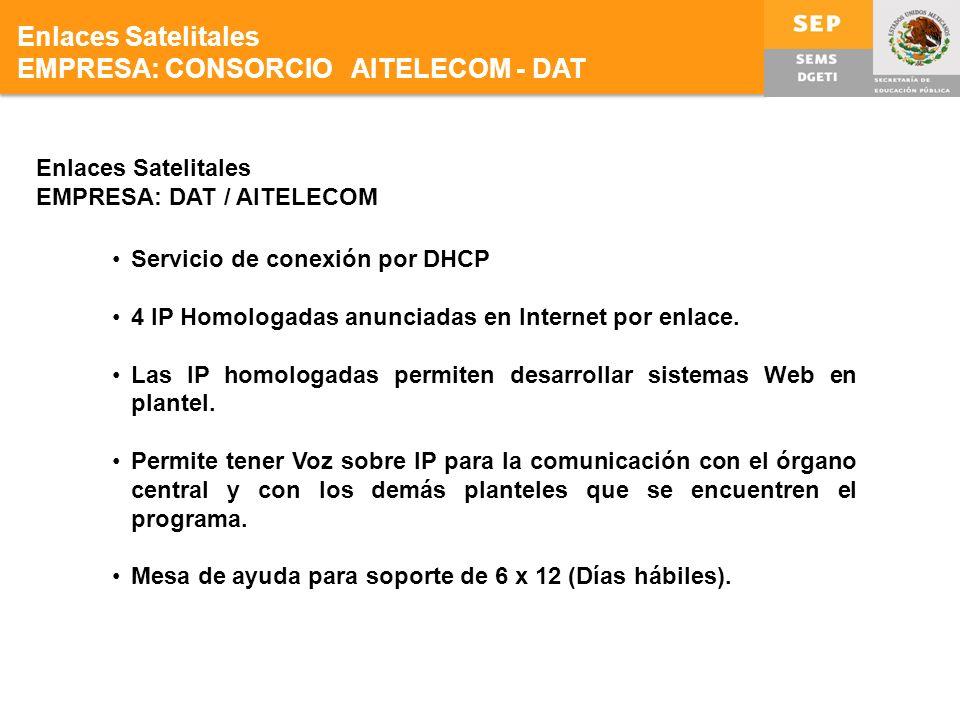 Enlaces Satelitales EMPRESA: DAT / AITELECOM Servicio de conexión por DHCP 4 IP Homologadas anunciadas en Internet por enlace.