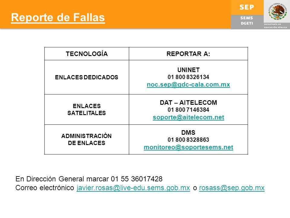 Reporte de Fallas TECNOLOGÍAREPORTAR A: ENLACES DEDICADOS UNINET 01 800 8326134 noc.sep@gdc-cala.com.mx ENLACES SATELITALES DAT – AITELECOM 01 800 7146384 soporte@aitelecom.net ADMINISTRACIÓN DE ENLACES DMS 01 800 8328863 monitoreo@soportesems.net En Dirección General marcar 01 55 36017428 Correo electrónico javier.rosas@live-edu.sems.gob.mx o rosass@sep.gob.mxjavier.rosas@live-edu.sems.gob.mxrosass@sep.gob.mx