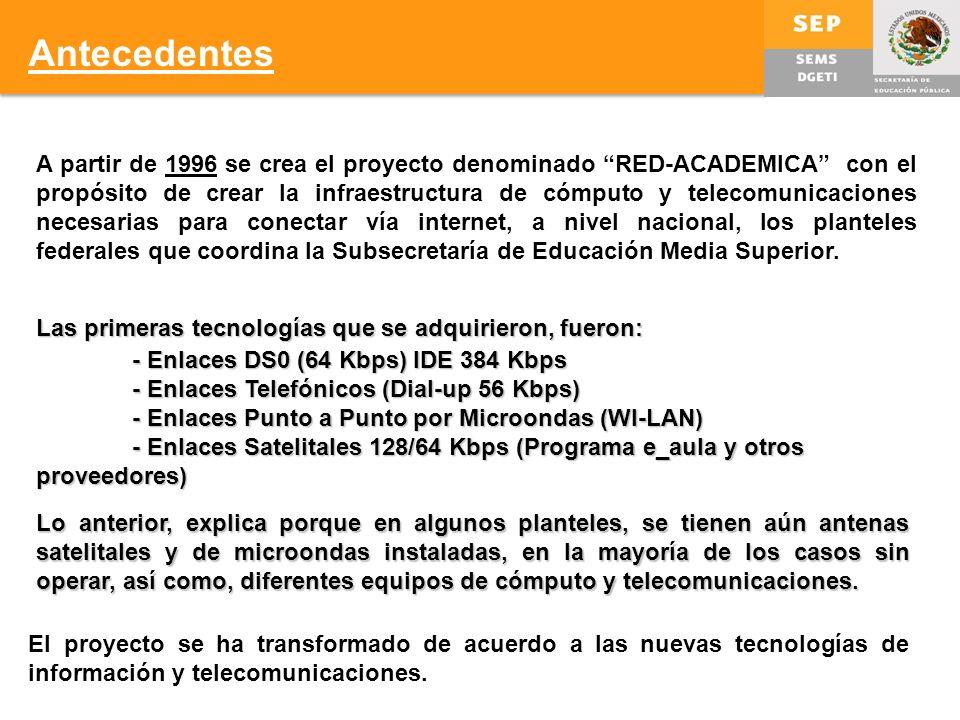 A partir de 1996 se crea el proyecto denominado RED-ACADEMICA con el propósito de crear la infraestructura de cómputo y telecomunicaciones necesarias para conectar vía internet, a nivel nacional, los planteles federales que coordina la Subsecretaría de Educación Media Superior.