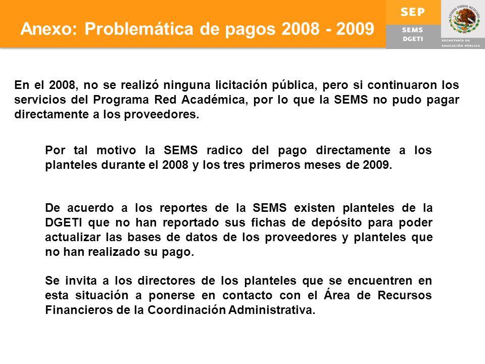 Anexo: Problemática de pagos 2008 - 2009 En el 2008, no se realizó ninguna licitación pública, pero si continuaron los servicios del Programa Red Académica, por lo que la SEMS no pudo pagar directamente a los proveedores.