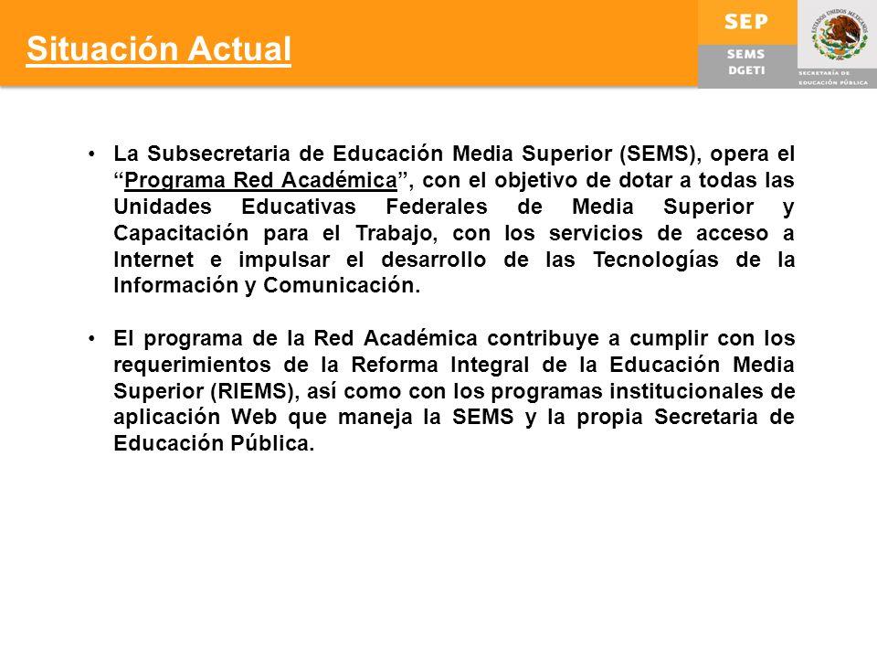 La Subsecretaria de Educación Media Superior (SEMS), opera elPrograma Red Académica, con el objetivo de dotar a todas las Unidades Educativas Federales de Media Superior y Capacitación para el Trabajo, con los servicios de acceso a Internet e impulsar el desarrollo de las Tecnologías de la Información y Comunicación.