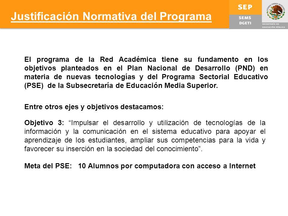 El programa de la Red Académica tiene su fundamento en los objetivos planteados en el Plan Nacional de Desarrollo (PND) en materia de nuevas tecnologías y del Programa Sectorial Educativo (PSE) de la Subsecretaría de Educación Media Superior.