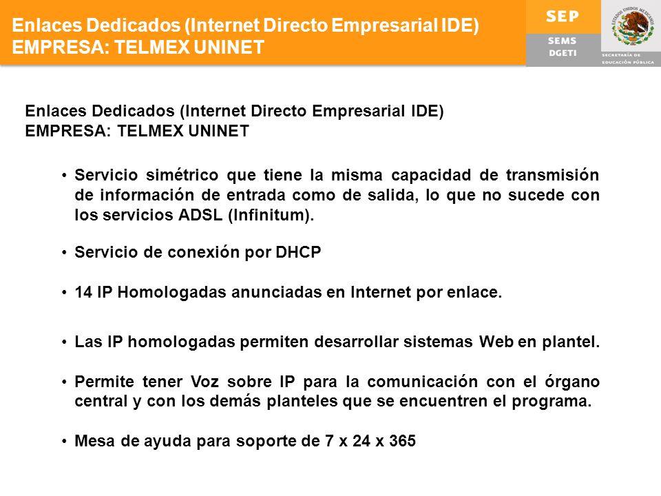 Enlaces Dedicados (Internet Directo Empresarial IDE) EMPRESA: TELMEX UNINET Servicio simétrico que tiene la misma capacidad de transmisión de información de entrada como de salida, lo que no sucede con los servicios ADSL (Infinitum).