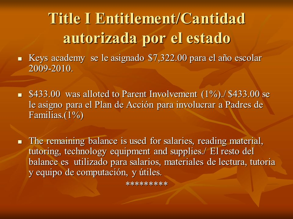 Title I Entitlement/Cantidad autorizada por el estado Keys academy se le asignado $7,322.00 para el año escolar 2009-2010. Keys academy se le asignado