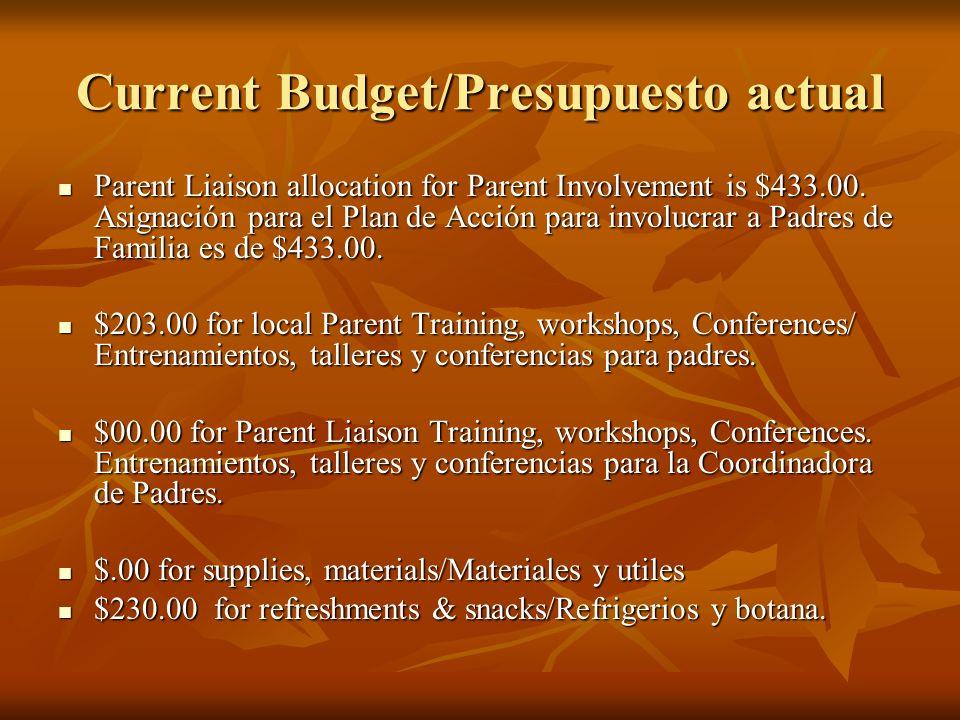 Current Budget/Presupuesto actual Parent Liaison allocation for Parent Involvement is $433.00. Asignación para el Plan de Acción para involucrar a Pad